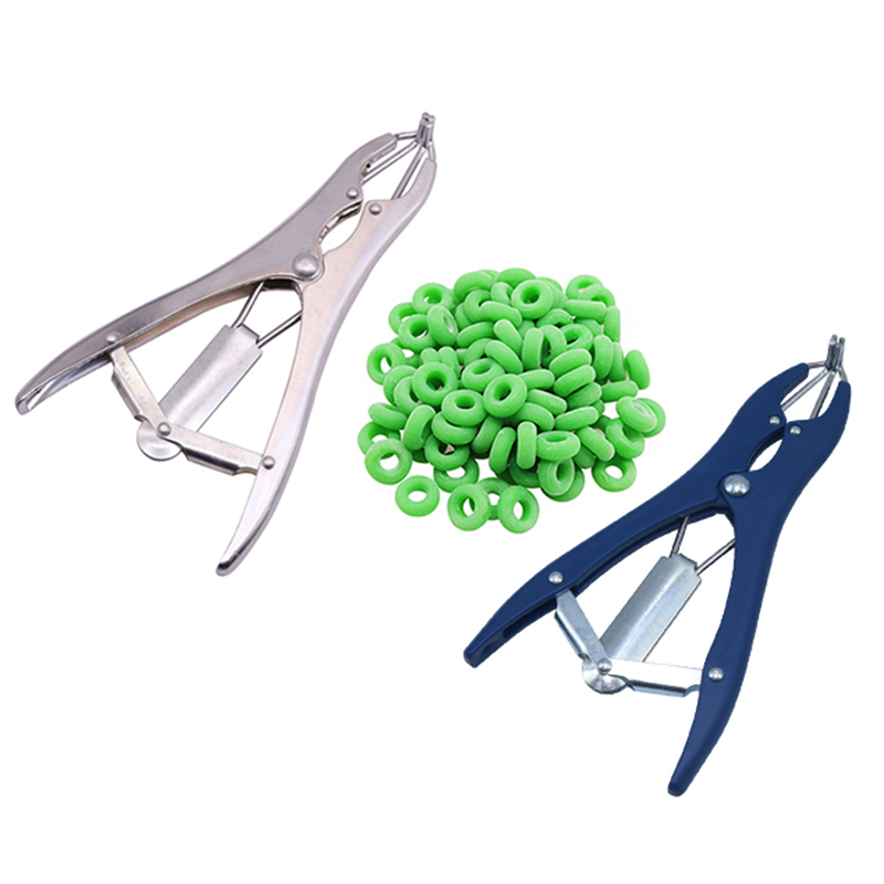 Tail Removal Pigs And Sheep Castration Pliers And 100 Particulate Rubber Ring Castration Device Veterinary Equipment