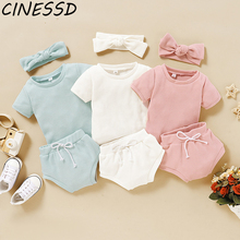 цена на Newborn Toddler Baby Girl Clothes Set Ribbed Solid Clothes Solid Top T-Shirt Pants Shorts Headwear 3Pcs Ruffled Edge Outfit Sets