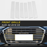 Car Styling Front Grille Grills Middle Net Cover Trim Frame Sticker Chrome Exterior Accessories For Audi A6 C8 2019