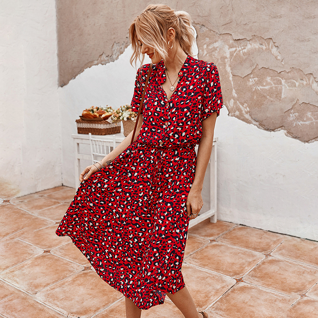 Fashion Polka Dot Print Dress Women High Waist  4