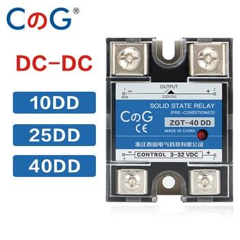 Relé electrónico SSR con disipador de aluminio CG SSR-10DD, 25DD, 40DD, 200A, 600A, SSR, 3-32VDC a 220VDC, 600V, 10A, 25A, 40A, DD, relé de estado sólido 1
