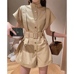 2020 Hot Sale Ladies Summer Cotton Rompers Short Sleeve Single Breasted Belt Mini Playsuits Overall Women Fashion Street