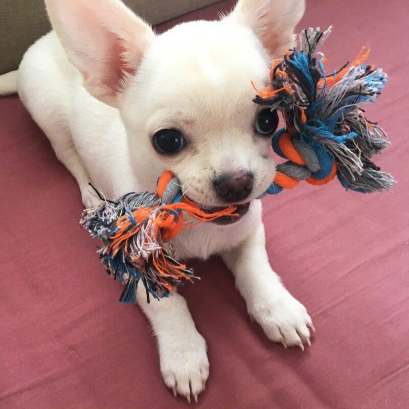 1 шт. веревка для кусания собак, игрушки для домашних животных, товары для собак, щенков, хлопковая игрушка для жевания с узлом, прочная плетеная веревка для костей, Забавный инструмент, случайный цвет-5