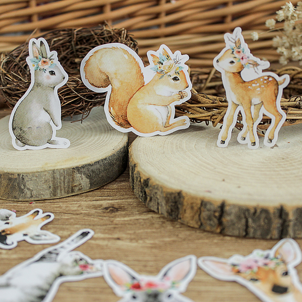 50PCS Cute Animal Stickers DIY Scrapbooking Album Journal Happy Planner Crafts Decorative Stickers Package