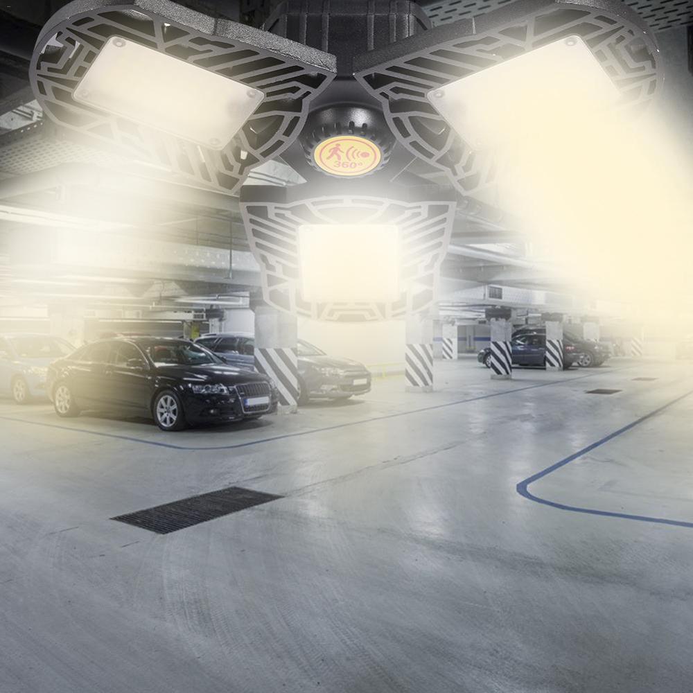 E27 Garage Light Led Deform Lamp Motion Activated Light 60/80W Waterproof Industry Light 85-265v High Intensity Workshop Lamp