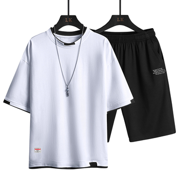 2021 Summer Men Casual Sports Sets Round Neck T-shirt Shorts Solid Color 2 Piece Suit Fashion Sports Breathable Mens Clothes 2