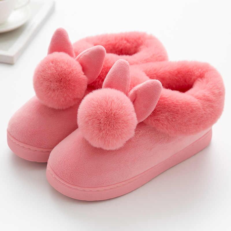 Kadınlar güzel tavşan kulaklar yumuşak ev botları pamuk sıcak kadın kışlık botlar kapalı ev ayakkabı yarım çizmeler kadın Botas Mujer
