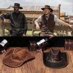 Hohe echtem leder Western Cowboy Hüte Männer Sonnenblende Kappe Frauen Reise Leistung Western Hüte Chapeu Cowboy 4 farben