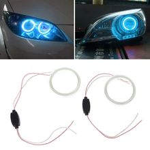 цена на 2 Pcs 60mm DC 12V COB Angel Eyes Halo Car LED Ring Light Headlight DRL Ice Blue