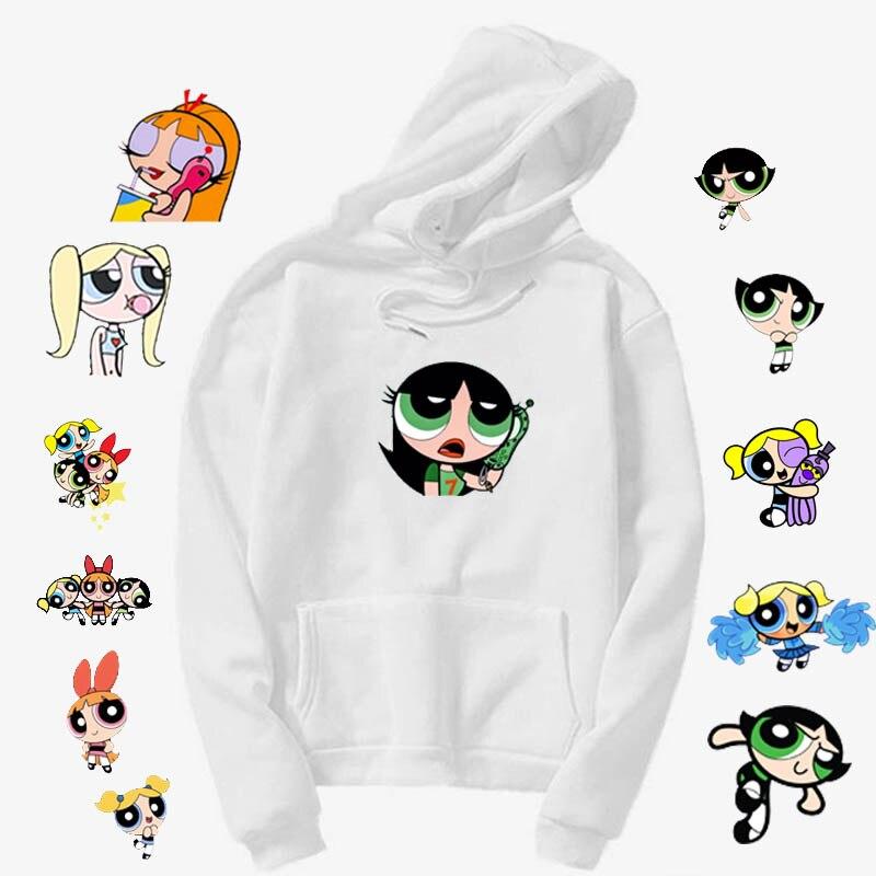 Kawaii Buttercup Power  Aesthetic Cartoon Print Hoodie Girls Autumn Fashion Hoodies Women Hip-hop Ulzzang Harajuku Style
