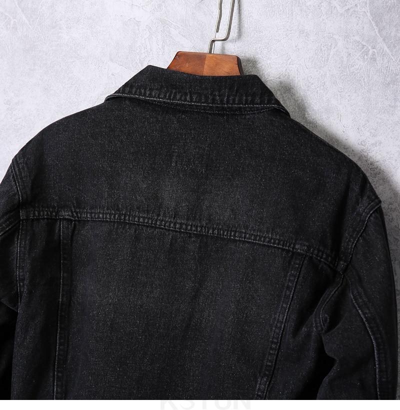 KSTUN 2019 Denim Jacket Men Spring Autumn Dark Gray Jean Jacket Fashion Hole Hip Hop Cowboy Jacket Streetwear Mens Casacas Para Hombre 13