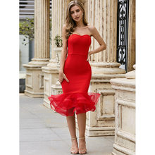 Chest Wrapping Red Dress Women Party Dance Hot Sexy Clothing with Cascading Ruffle