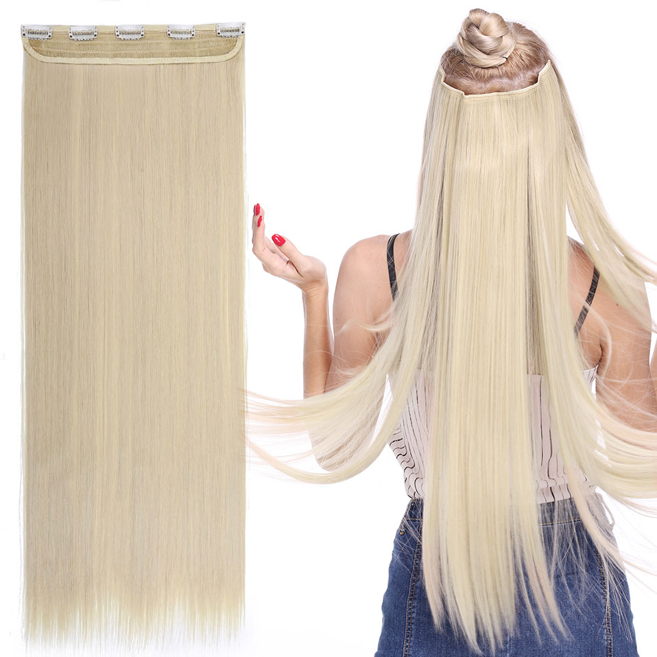 s-noilite  Long Straight Synthetic 5 Clips in One Piece Hair Extension Natural hair Heat Resistant blonde Hairpiece for women