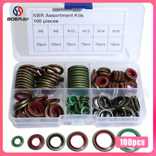 100Pcs M6 M8 M10 M12 M14 M16 Hoge Druk Hydralic Rubber Olie Pijp Afdichting Pakking Nbr Metalen Afdichting Ring assortiment Kits(China)