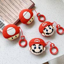 Mario Mushroom 3D Cartoon Soft Silicone Case for Airpods Cover Wireless Bluetooth Earphone Headphone Protection Gift(China)