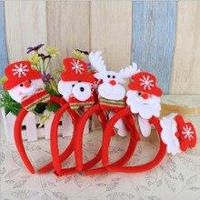 Рождественская головная повязка светящаяся одинарная/двойная кнопка Санта-Клауса/оленя/снеговика светодиодный светильник на батарейках светящийся