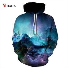 Mens Womens 3D Sweatshirt Colorful Nebula Starry Hoodies Graphic Long Sleeve Streetwear Pullover Tracksuit Couples Tops zip front crop graphic pullover