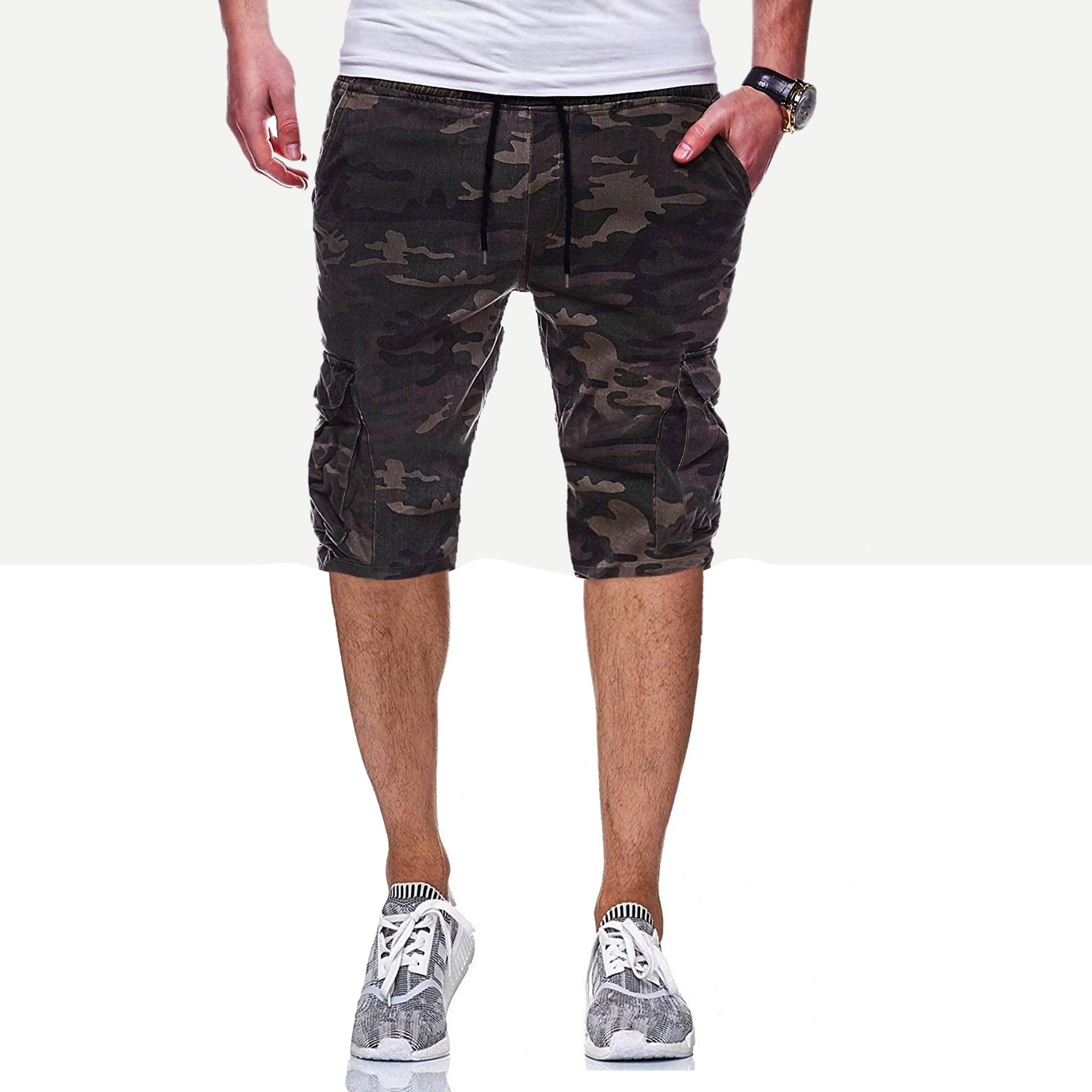 Foreign Trade Summer New Style Men's Large Size Camouflage Printed Cropped Trousers Men With Drawstring Belt Casual Capri Pants