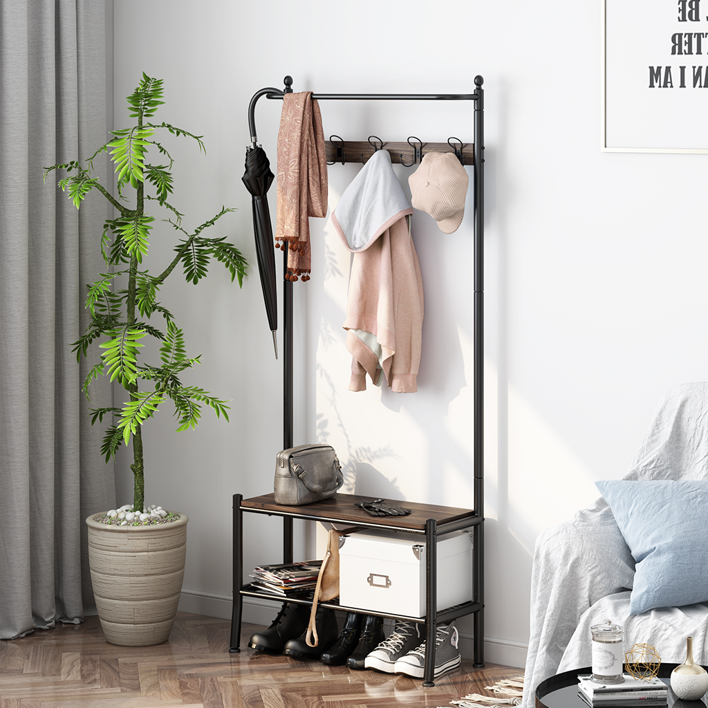 LANGRIA Entryway Coat Rack With Spacious Shoe Bench Features Metal Frame Stylish Industrial Hall Tree Storage Shelf With Hooks