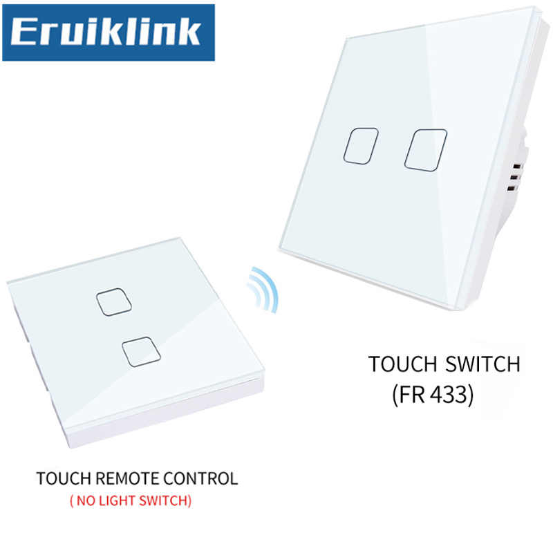 EU/UK Standard 1/2/3 gang 1 way Touch Wireless Remote Control Light Switch,White Glass Panel RF433 Smart home Touch Wall Switch