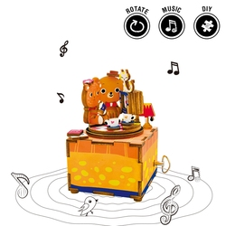 Robotime 3D Wooden Music Box Cute Bear Love Story DIY Assembly Puzzle Game Toys Building Kits Gift For Children Girlfriends