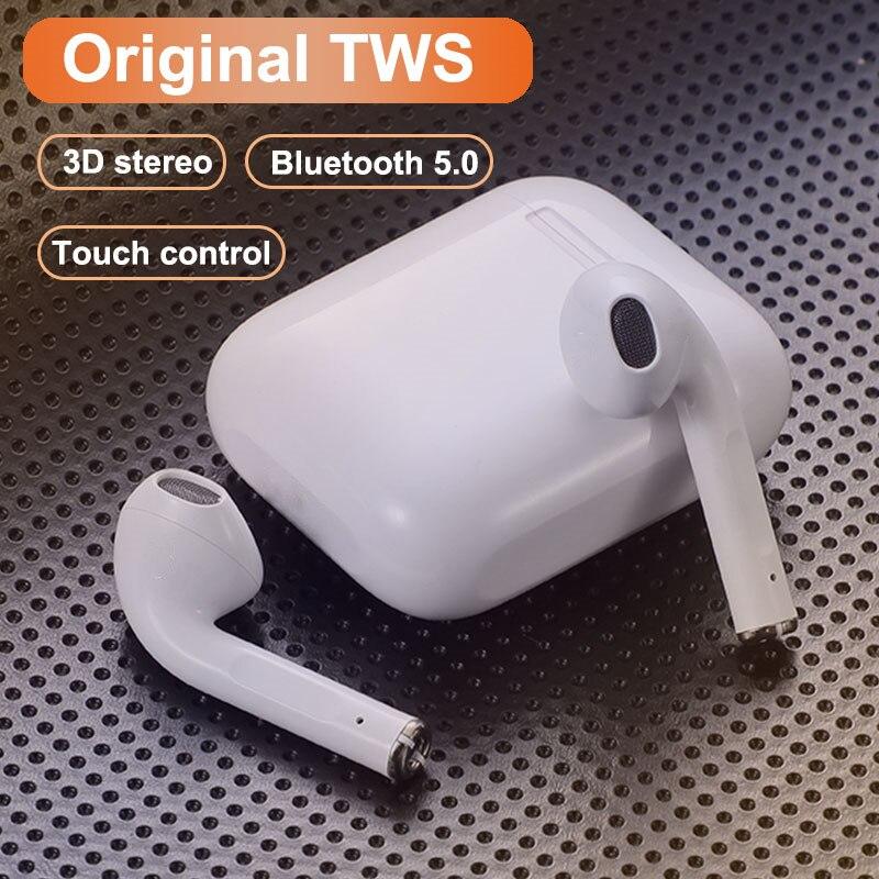 Оригинальный i12 наушники-вкладыши tws стерео беспроводной 5,0 Bluetooth наушники-гарнитура с зарядным устройством для iPhone Android смартфонов Xiaomi