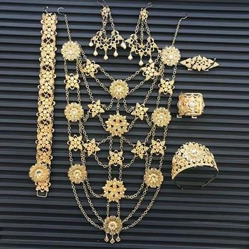 Fashion Dubai large jewellery set chain necklace earrings corsage belt bracelet crown six piece Algerian woman wedding jewellery