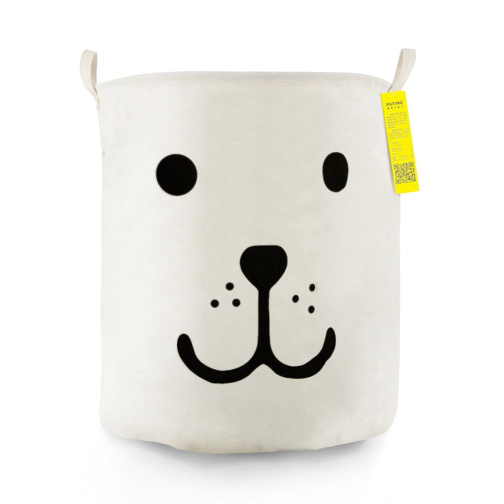 Clothes Bag Waterproof- Open Large White Smile Dog Foldable Fabric Clothes Toy Storage Basket Laundry Basket