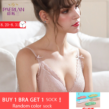 PAERLAN Push Up Sexy Lace Floral Bra Wire Free Retractable Chest Adjustable Upper Underwear Women 3/4 Cup Small Breast Seamless