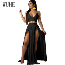 WUHE Women Sexy Bohemian Chiffon Summer Dress Spaghetti Strap V Neck High Waist Beach Dresses Slit Backless Casual