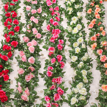 220 cm partia jedwabne róże bluszcz zielone liście używane do dekoracji ślubnej domu sztuczne liście diy wiszące garland sztuczne flo tanie i dobre opinie NoEnName_Null CN (pochodzenie) Sztuczne kwiaty Różany Łańcuch z kwiatów Ślub Z tworzywa sztucznego