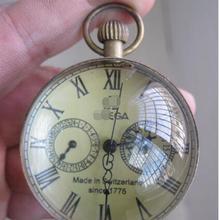 2 дюйма/изысканные китайские винтажные медные стеклянные карманные часы с шариком