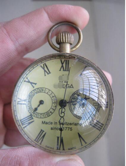 2 Inch / Exquisite Chinese Vintage Copper Glass Pocket Watch Ball Clock