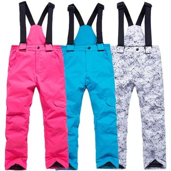 -30 best Children Snow pants outdoor sports Kids Belt trousers snowboarding Clothing boy or girl bib ski pants baby Snow gear