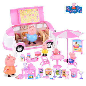 Originele Peppa Pig Restauratierijtuig Speelgoed Party Picknick Set Action Figure Pop Familie Vader Moeder George Model Kind Verjaardagscadeau