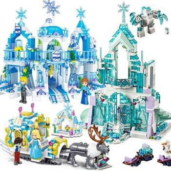 Elsa Ice Castle Princess Snow Queen Anna Building Blocks Bricks Kit Friend Girls House Little Mermaid Figure Children Toys