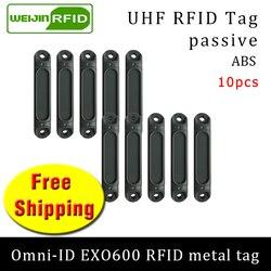 العلامة المعدنية UHF تتفاعل omni-ID EXO600 915 متر 868 ميجا هرتز إمبينج Monza4QT 10 قطعة شحن مجاني دائم ABS البطاقة الذكية السلبي تتفاعل العلامات