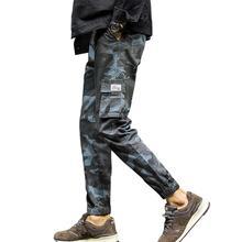 Мужчины повседневный камуфляж завязки на щиколотке несколько карманов хлопок спорт девятый брюки брюки