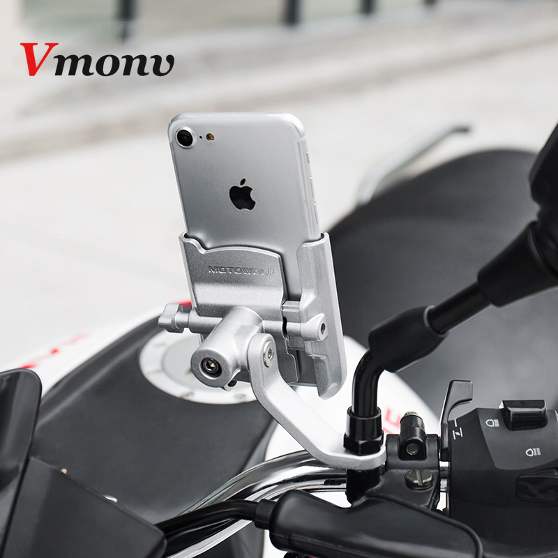 Vmonv Upgrade Universal Metal Chargable Motorcycle Rearview Mirror Cell Phone Holder Stand Support Handle Bike Moto Mount Holder