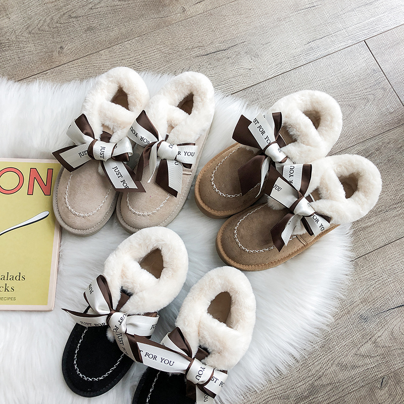 2019 Women Snow Boots Winter Ankle Boot Female Bow Warmer Plush Suede Rubber Flat Slip On Fashion Platform Ladies Shoes 26