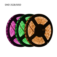 RGB 300 LED strip light 5m 60LEDs/m SMD 3528 White Warm Red Green Blue 12V Waterproof flexible Tape rope stripe