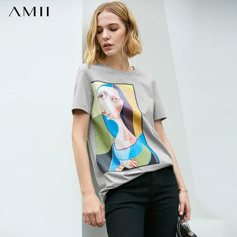 Amii Minimalist Printed T-shirt Female Summer Artistic Print Loose Round Neck Women Tops 11960029