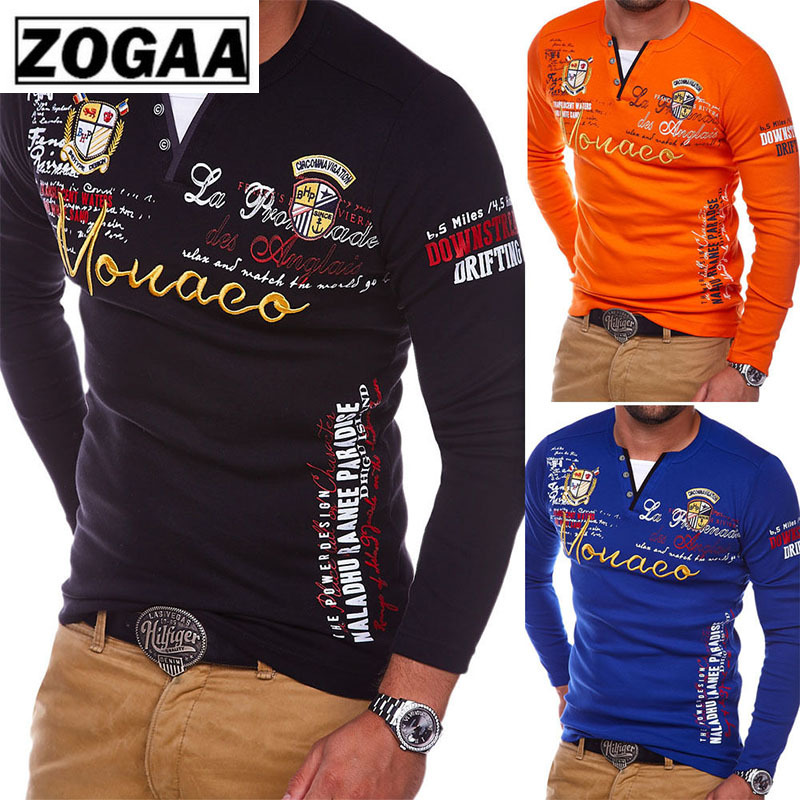 ZOGAA 2019 Men   Polo   Shirt Casual Cotton Hand Printing Casual Tee Shirt Men long Sleeve Tops Quick Dry Male Multi Color Clothes