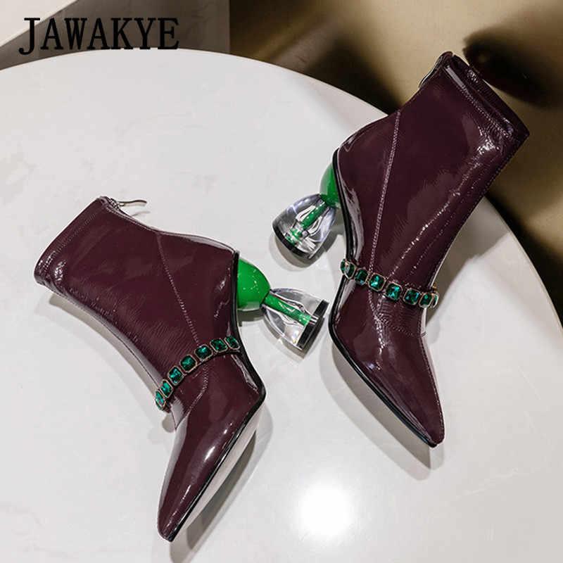 Yeşil taş askısı süslenmiş yarım çizmeler temizle garip yüksek topuk kadın sivri burun kısa çizmeler sonbahar seksi parti ayakkabıları kadınlar