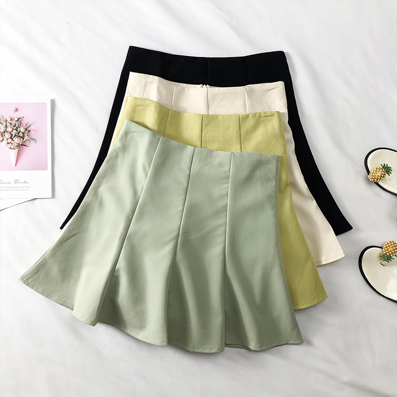 Solid Female Fashion Skirts Above Knee Trumpet High Waist Women Skirts Casual A-Line Mini Ladies Korean Ruffles Zipper Skirts