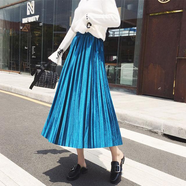 High Waist velvet Pleated skirt women Autumn Winter Vintage black skirt womens 2019 Long Silver Maxi Elascity Casual Party Skirt 5