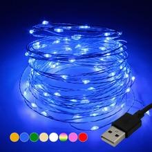 Светодиодный гирлянды 10 м 5 м USB Водонепроницаемый Медь проволочная гирлянда светодиодная гирлянда для рождественские украшения вечерние с 8 цветов