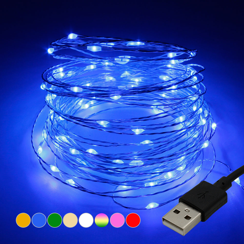 LED String Lights 10M 5M USB Waterproof Copper Wire Garland Fairy Lights For Christmas Decoration Party With 8 Colors(China)
