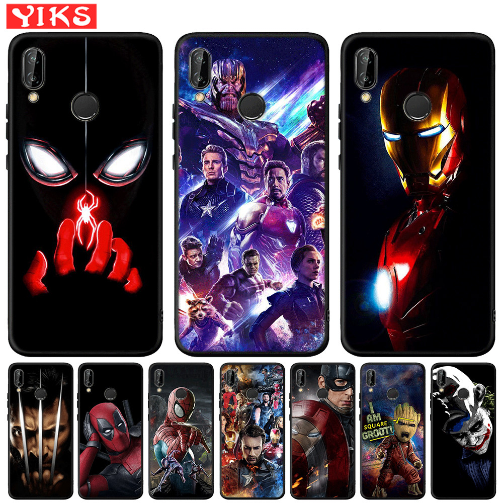 <font><b>Marvel</b></font> Heros Spiderman Iron Man For <font><b>Huawei</b></font> Mate 20 10 P30 P20 <font><b>P10</b></font> P9 P8 <font><b>Lite</b></font> Pro 2017 P Smart 2019 Soft Silicone Case <font><b>Cover</b></font> Etui image