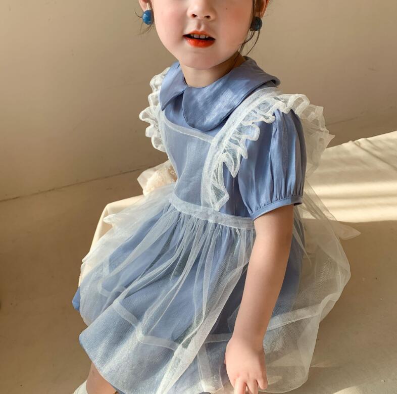 Varejo novo 2021 bebê meninas verão moda define, vestido + branco suspender vestido atacado 1-6t